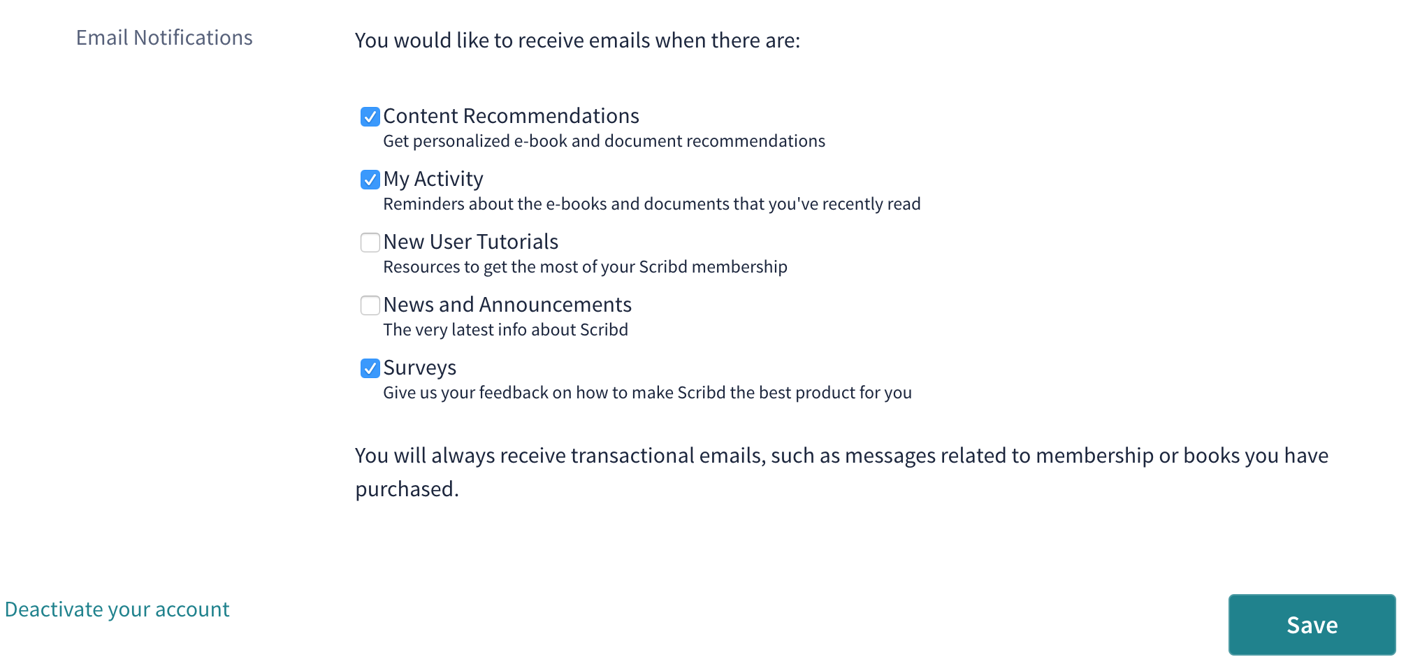 How do I unsubscribe from Scribd\'s newsletters? – Scribd Help Center