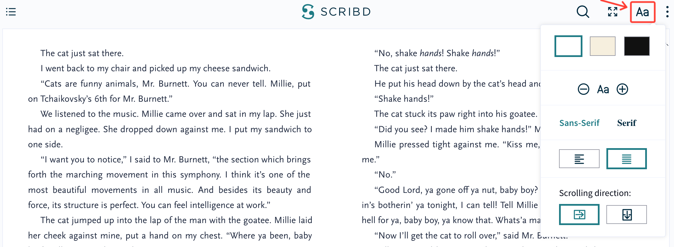 Font size and display options on Scribd com – Scribd Help Center