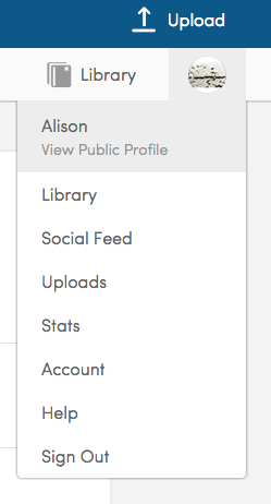 Example of profile menu showing items for public profile, library, uploads, account, and help.